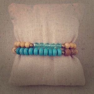 Turquoise Natural Stone Stretch Layering Bracelets